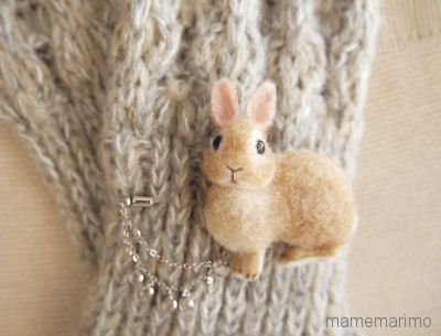 Needle-felted BunnyRabbit Scarf Pin