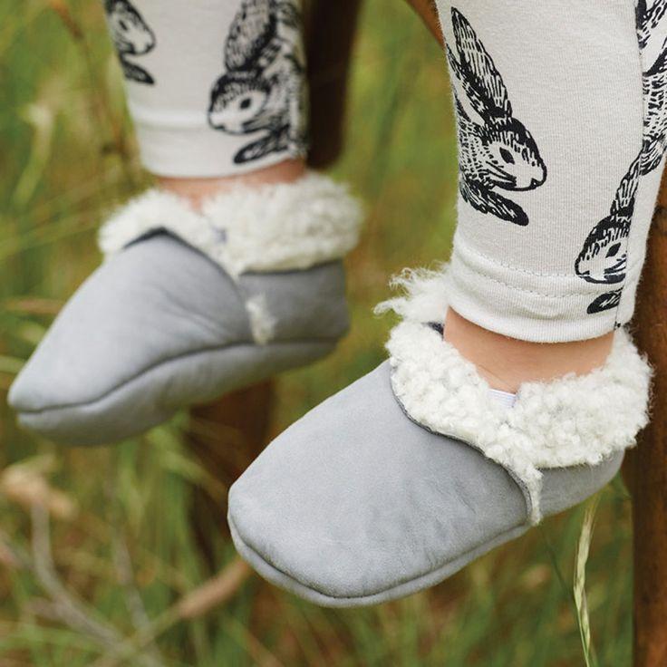 Organic Lambskin Booties / Grey / Nature Baby