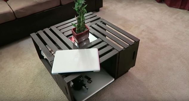 diy coffee table out of crates , painted furniture