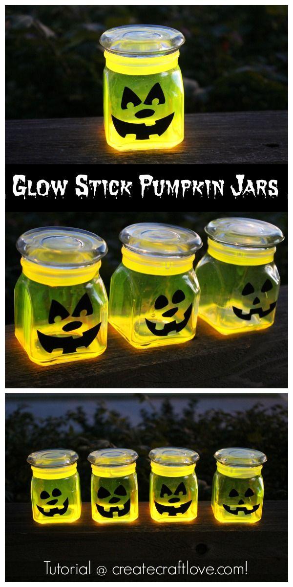 Great last minute Halloween project - Glow Stick Pumpkin Jars!  via createcraftlove.com
