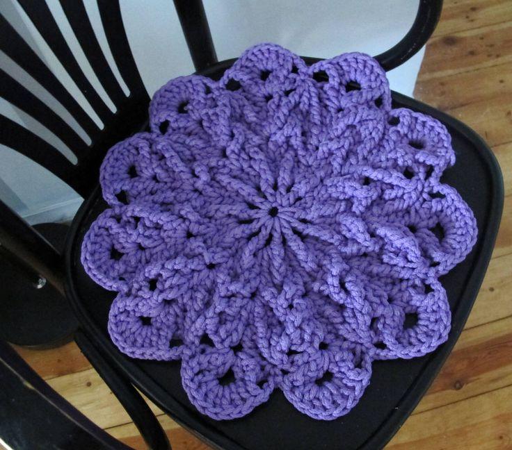 Purple Crochet Seat Pad, Round Chair Cushion, 3D Chair Pad Cover, Stool Mat, Boho Decor by Vishemir on Etsy