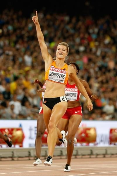 200m winner Dafne Schippers at the IAAF World Championships, Beijing 2015 (Getty…