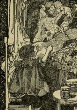 The Little Red Riding Hood:  Illustration by Charles Robinson, PD licence