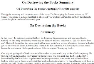 Beowulf Summary Essay On Destroying The Books Summary On Destroying The Books Questions Notes With  Answers Here Is The Summar  Educational Tips For Students And Teachers  Descriptive Essay Example About A Place also Dr Strangelove Essay On Destroying The Books Summary On Destroying The Books Questions  Gay Marriage Essay Topics
