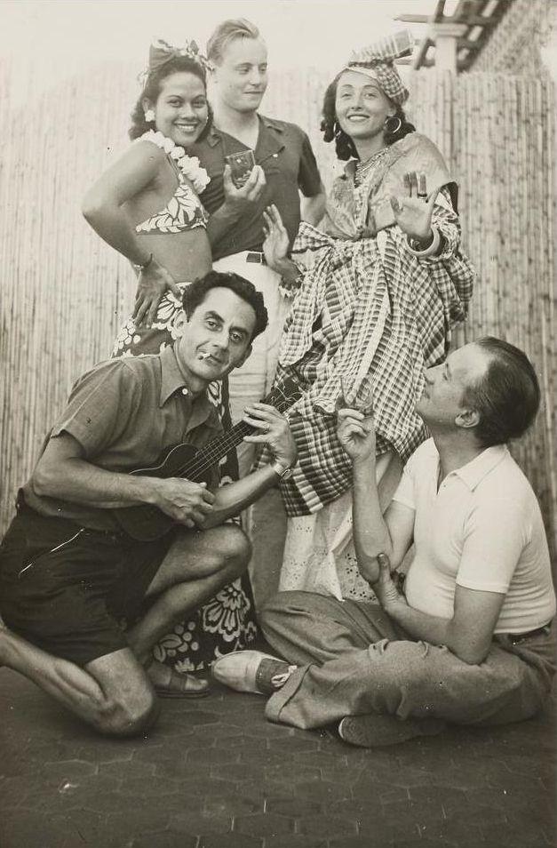 Ady Fidelin, Man Ray, Nusch Éluard and Paul Éluard at a party, Antibes...  Man Ray, 1937.