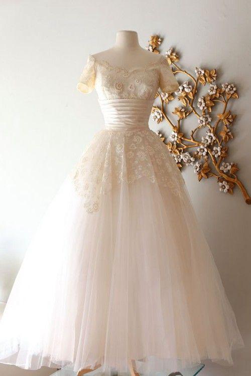 A-line Off Shoulder Floor Length Lace Organza Wedding Dress
