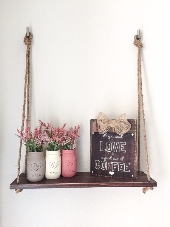Wood Hanging Shelf with Rope. Valentines Day by BUtifulDesigns