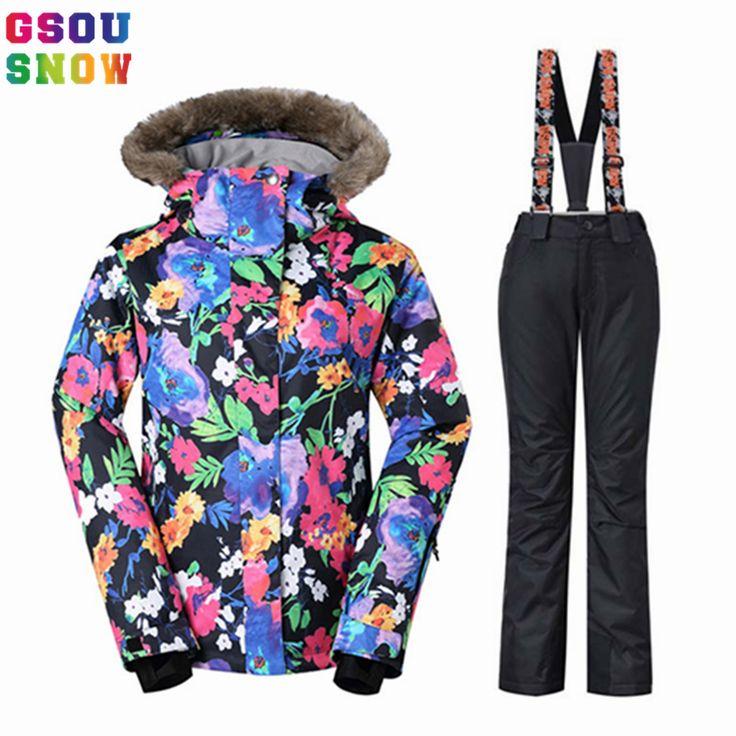 Gsou Snow women winter suits waterproof ski suit set jacketpant snowboard clothes snow jacket waterproof breathable plus size