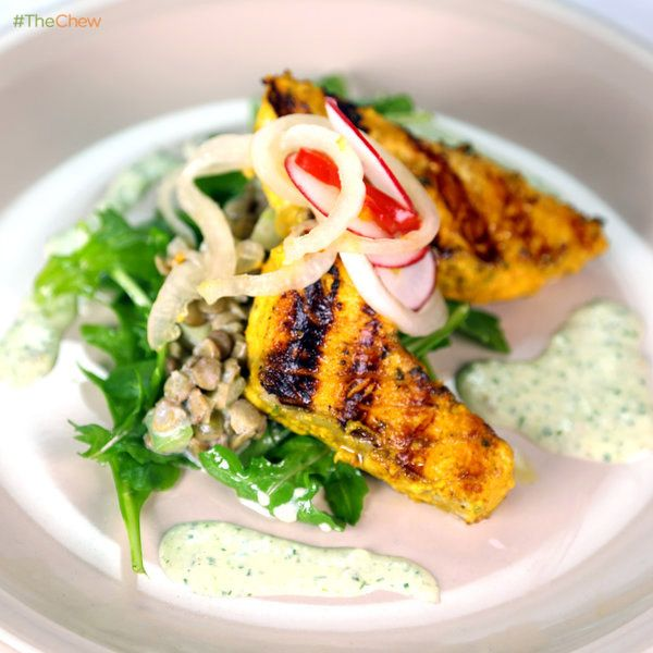Tandoori Salmon Salad with Pickled Cippolini Onions, Cucumber Raita, and Marinated Lentils by Wolfgang Puck! #TheChew