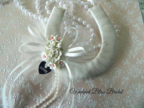 Wedding Bridal Horseshoe charm Ivory Satin by WeddedBlissBridal