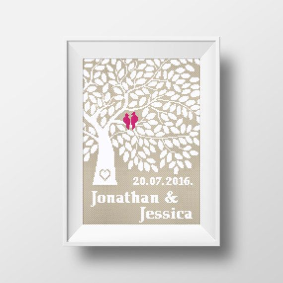 No69 Wedding Tree personalized Cross Stitch Pattern wedding gift  This cross stitch pattern is the perfect gift fornewly married coupler. This is a digital item. The PDF file of the pattern will be available for instant download once payment is confirmed.  XXXXXXXXX  ● Fabric: Aida 14 count cream color ● Grid Size: 120w x 162 Stitches ● Design Area: 8.57 x 11.57 or 21.77cm x 29.39 cm ● DMC Colors: 2   XXXXXXXXX  BUY TWO GET ONE FREE!! JUST PUT 3 PATTERNS IN YOUR CART AND USE CODE : COUPON…