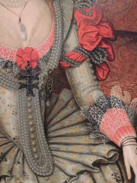 Details from Anne of Denmark, Gheeraerts, 1614. Photo: Melanie Clegg.