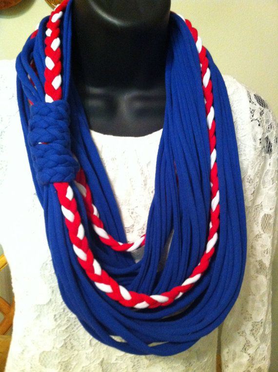 T-Shirt Scarf - Infinity Scarf - Fabric Scarf - Navy Blue - Red- White- Sailor Necklace. $25.00, via Etsy.