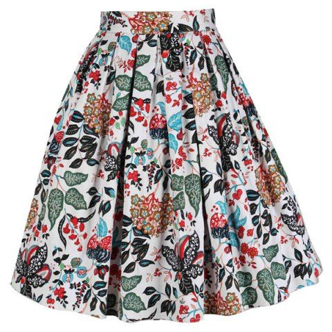 Vintage Slim Fitting Knee-Length Floral Print High Waist Women's Full Skirt