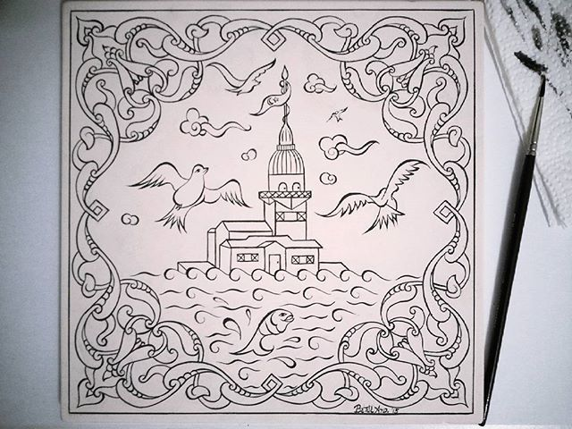 Fırçamdan Kızkulesi✏Boyamaya hazır ~~ #my #work #handmade #draw #tile #turkish #islamic #art #china #ceramic #brush #painting #çizim #çini #fineart #design #picture #photograph #instaphoto #instagood #예술 #그림 #rumi #maidentower #drawing