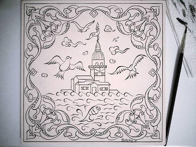Fırçamdan Kızkulesi✏Boyamaya hazır ~~ #my #work #handmade #draw #tile #turkish #islamic #art #china #ceramic #brush #painting #çizim #çini #fineart #design #picture #photograph #instaphoto #instagood #예술 #그림 #rumi #maidentower #drawing