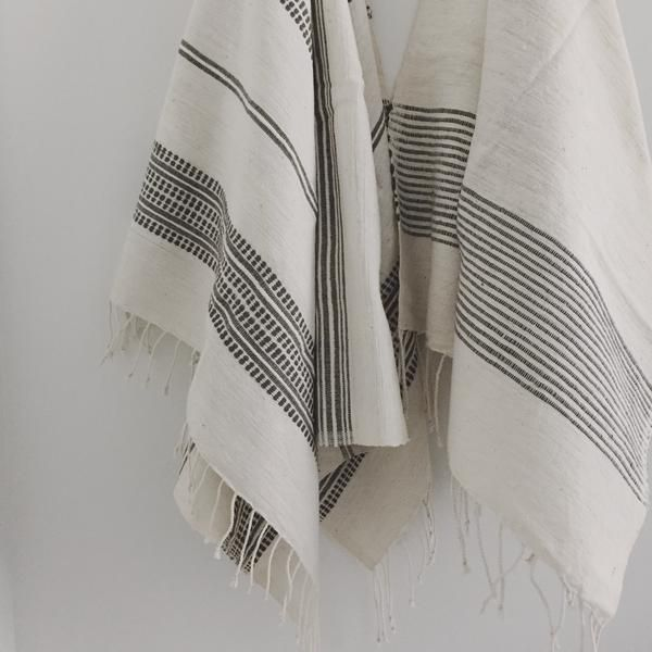 Ethiopian cotton hand towels in grey stripes and grey ribs | Ethiopia | TWENTY ONE TONNES