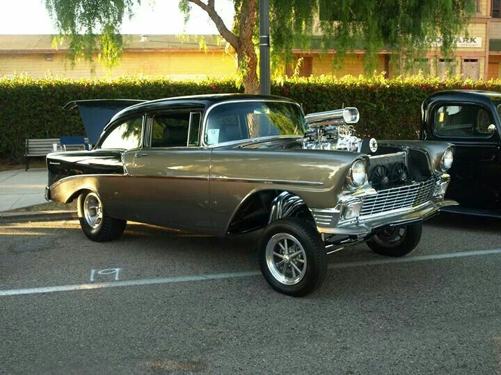 1956 Chevy Gasser With Et Gasser Wheel In Front And 5 Window High