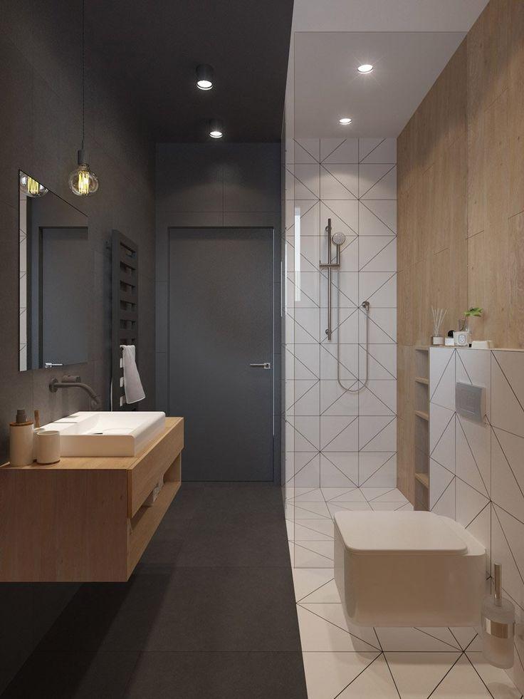 Piccolo bagno originale in bianco e nero con dettagli in legno