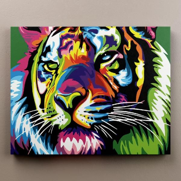Colorful Tiger In 2020 Tiger Painting Animal Paintings Happy