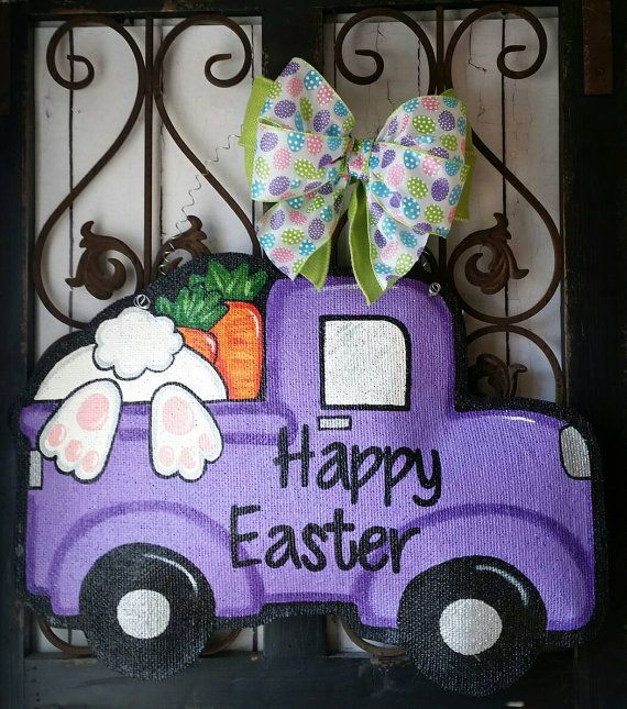 Happy Easter Truck Filled with bunny and carrots Burlap Door Hanger Decoration and Wreath Replacement & 900+ best A \