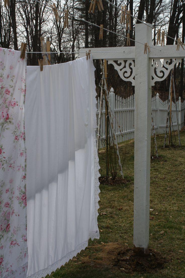 Shabby Chic clothesline in my backyard