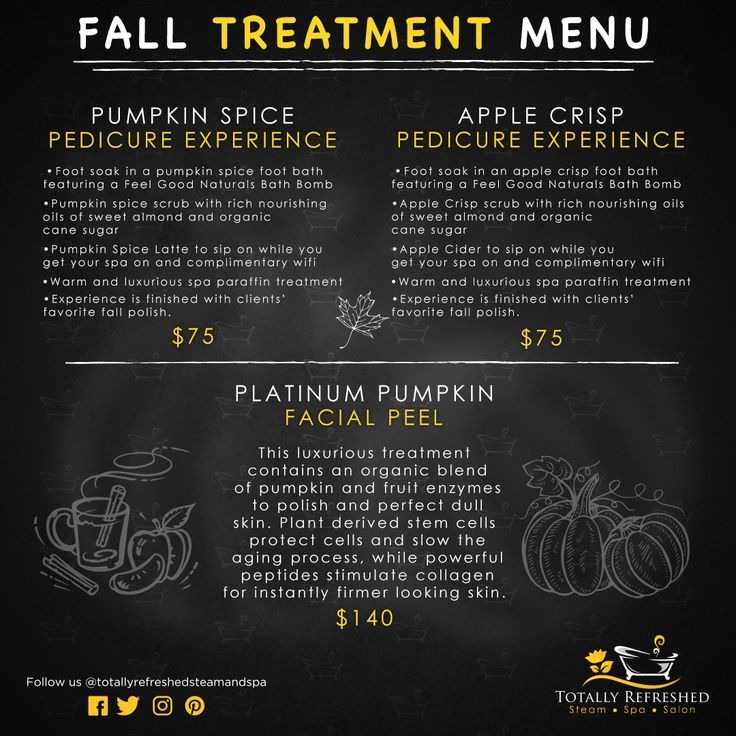 🍂Totally Refreshed Fall Treatment Menu!🙌 Sip on yummy hot apple cider or a pumpkin spice latte while your feet are soaked in a foot bath infused with one of Feel Good Naturals locally crafted bath bombs and scrubbed and polished with an organic cane sugar and sweet almond oil -based exfoliant (psst: almond oil is rich in Vitamin E, so it's great for renewing tired skin). 🎃🍎 Call 403-314-1933 or send us a message to book your fall treatment today! - Red Deer - Totally Refreshed