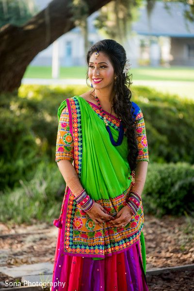 Indian bride glowing in her sangeet attire. http://www.maharaniweddings.com/gallery/photo/87621