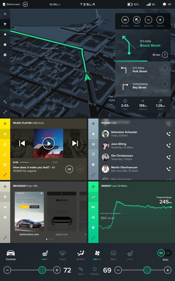 Tesla car HMI concept -- interface