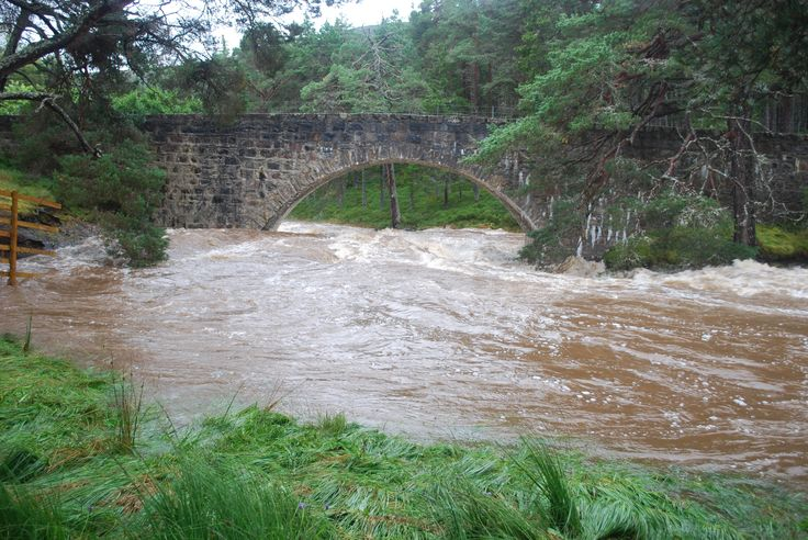 This image of the Lui Bridge shows the extent of the flooding in the swollen river at Mar Lodge Estate, Scotland #NTSAppeal