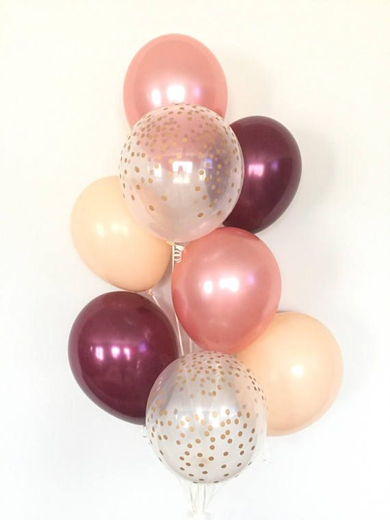 Blush And Burgundy Balloons Rose Gold Balloon Bouquet Rose Etsy Blush Bridal Showers Bridal Shower Deco Rose Gold Bridal Shower