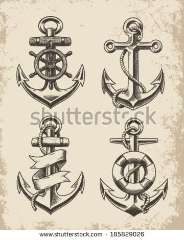 Hand Drawn Anchor Set - stock vector