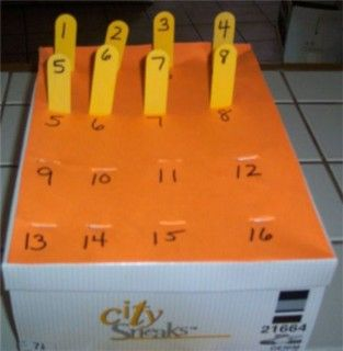 Popsicle sticks  a box...how easy is that? Nice matching task