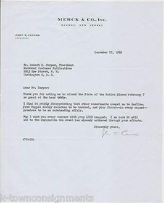JOHN CONNOR MERCK & Co INC PRESIDENT AUTOGRAPH SIGNED STATIONERY LETTERHEAD 1962