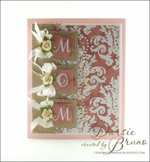 Mother's Day card using @Marsha Grove Papercraft, Inc. Graceful Monogram and Grand Damask Background stamps