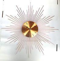 48cm Shiny Rose Gold Copper Metallic Dial Sunburst Metal Spiked Wall Clock 151