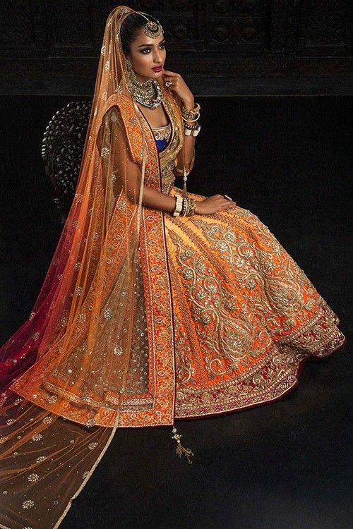 Shades of Orange Bridal Lehenga with Contrasting Blue Choli