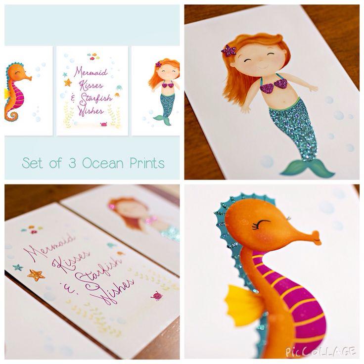 Set of 3 Wall Art - Ocean Decor - Kids Art - Glitter Art - Mermaid Painting - Little Mermaid - Bathroom Decor - Sweet Cheeks Images