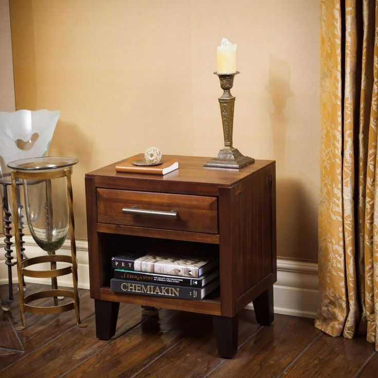 Single Drawer Solid Wood End Table / Nightstand in Mahogany Brown #GDFStudio #Contemporary