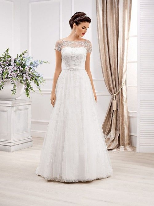 A-line/Princess Scoop Sweep Släp Lace Kort Ärm Wedding Dresses