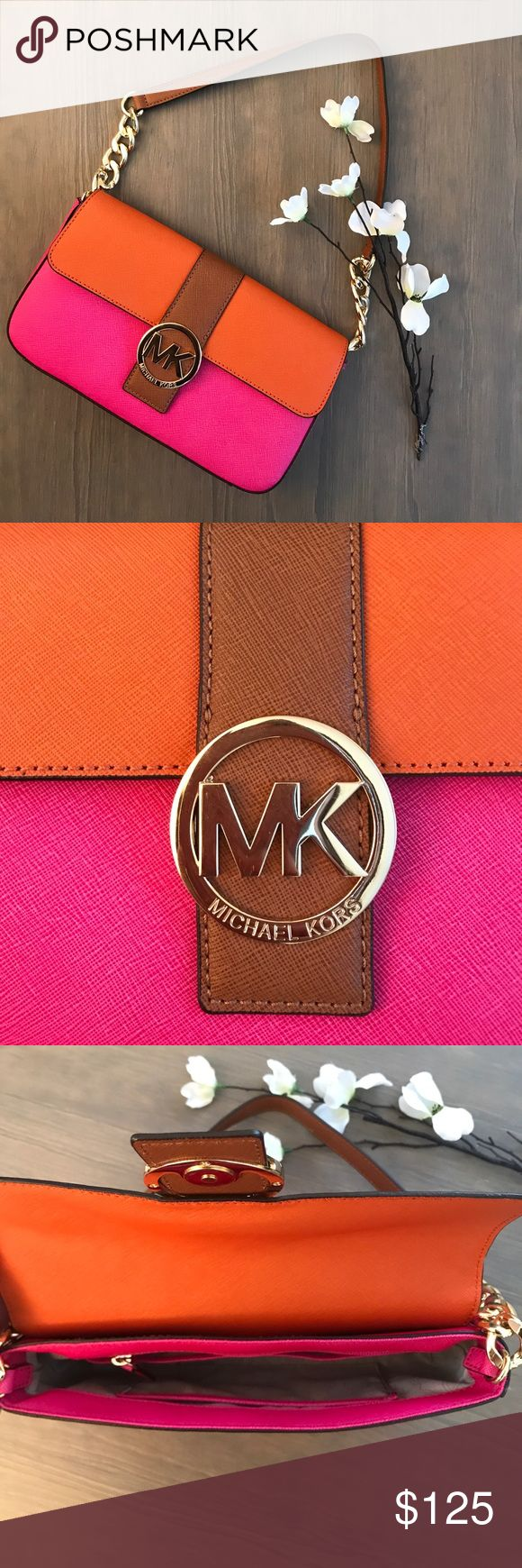 NWOT Michael Kors Pink and Orange Shoulder Bag Never used! In perfect condition Michael Kors orange and pink shoulder bag. Authenticity tag pictured! This is a super cute bag. Perfect to complete your girly look! Comes with dust bag! Michael Kors Bags Shoulder Bags
