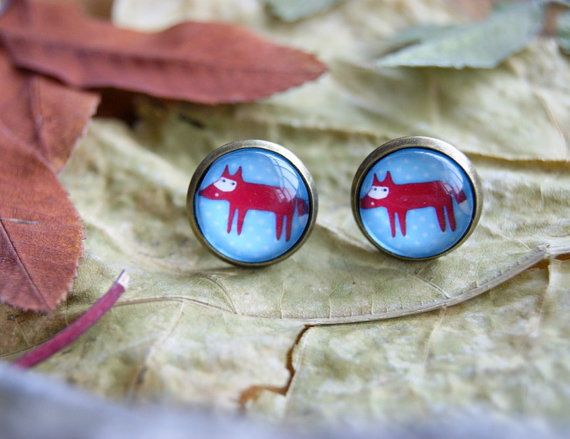 Red fox glass dome stud earrings Glass earrings by InviolaJewerly