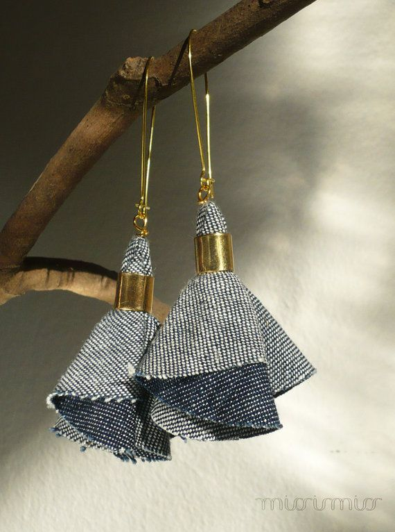 Fashion elegant urban dangle denim earrings. Blue jeans textile, gold colored hooks. Ready to ship