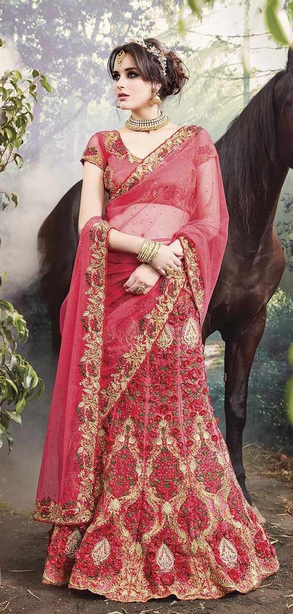 Party-Wear-Onion-Red-Heavy-Work-Saree