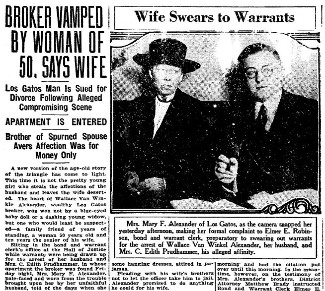 """Article about the Alexander scandal, published in the San Francisco Chronicle newspaper (San Francisco, California), 19 July 1921. Read more on the GenealogyBank blog: """"How to Find the Black Sheep of Your Family in Old Newspapers."""" http://blog.genealogybank.com/how-to-find-the-black-sheep-of-your-family-in-old-newspapers.html"""