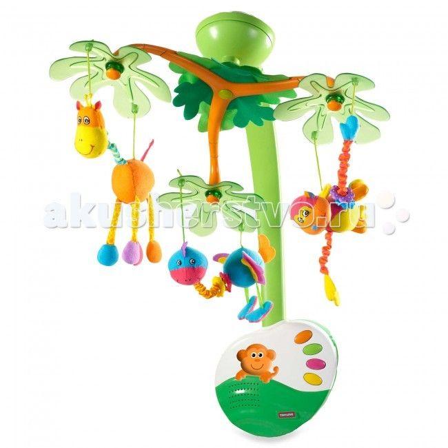 Мобиль Tiny Love Остров сладких грёз  Музыкальный мобиль с ночничком и подвесными игрушками.   В комплекте: мобиль с 3 подвесными игрушками; пульт дистанционного управления.   подходит для крепления к стенкам детских кроваток; на дугах под полупрозрачными пластиковыми листьями подвешено 3 мягкие игрушки - жирафик, обезьянка и страусенок. Они снимаются и могут использоваться для независимой игры; 20 минут непрерывного звучания классической музыки и звуков природы - 4 мелодии проигрываются по…