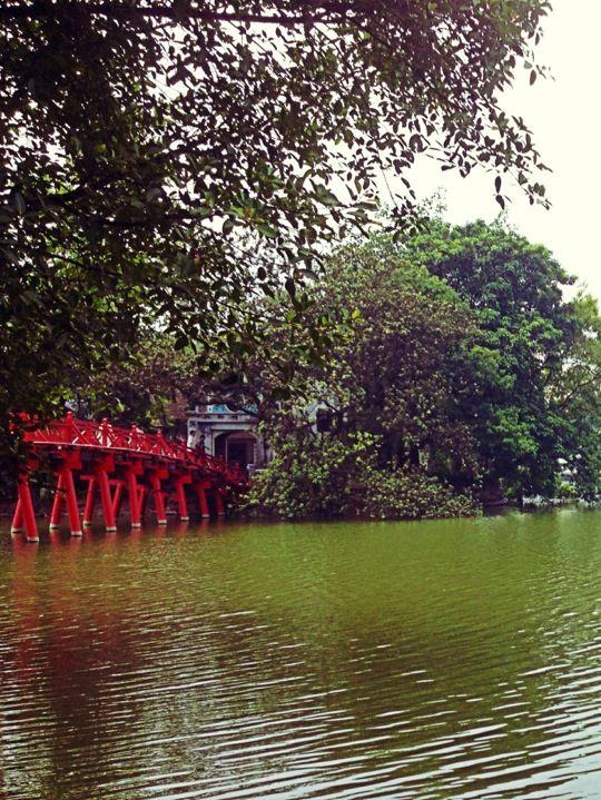 Red Bridge at the Hoan Kiem Lake in Hanoi, Vietnam