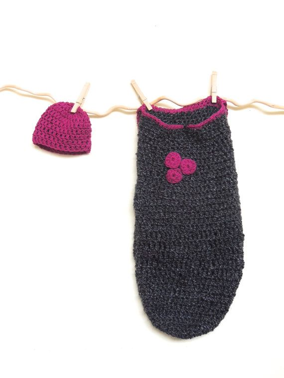 Crochet Baby Cocoon Charcoal Cocoon Grey Cocoon by amezarcreations