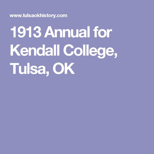 1913 Annual for Kendall College, Tulsa, OK