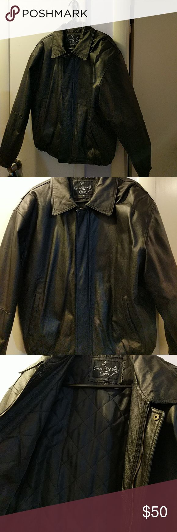 Caribou Creek men's leather coat Black leather outer, nylon lining. 1 inner pocket. Never been worn, in terrific shape. & Other Stories Jackets & Coats Bomber & Varsity